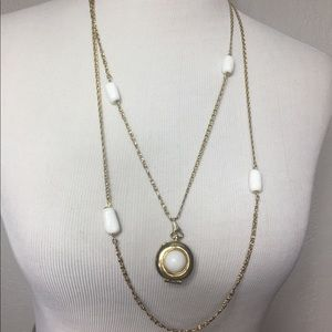 Vintage Milk Glass Locket Double Chain Necklace
